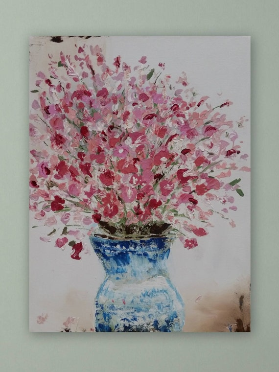 Large floral painting unstretched canvas painting flower in vase pink abstract flower ar wall decore marcy chapman original signed painting