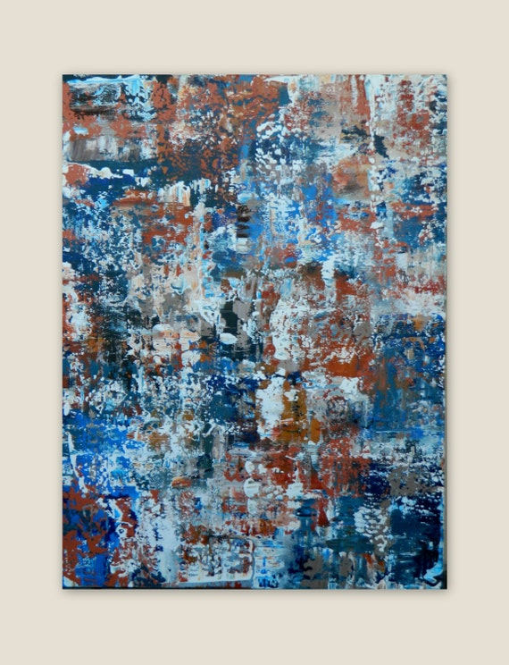 ORIGINAL Modern Abstract Painting  Auburn University Wall Art Canvas painting Blue Orange White Taupe, tan large extra large, XL, XXL huge
