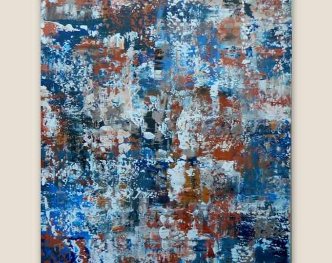 ORIGINAL Modern Abstract Painting  Auburn University Wall Art Canvas painting Blue Orange White Taupe, tan large extra large, XL, XXL huge