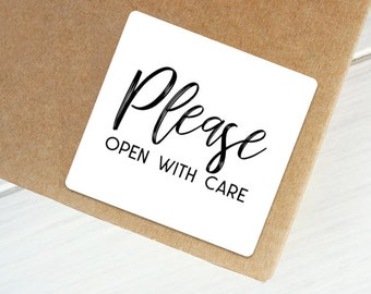 Please Open With Care Packaging Stickers - 24 stickers per sheet | Each Sticker 1.5 inches Square | POWC1