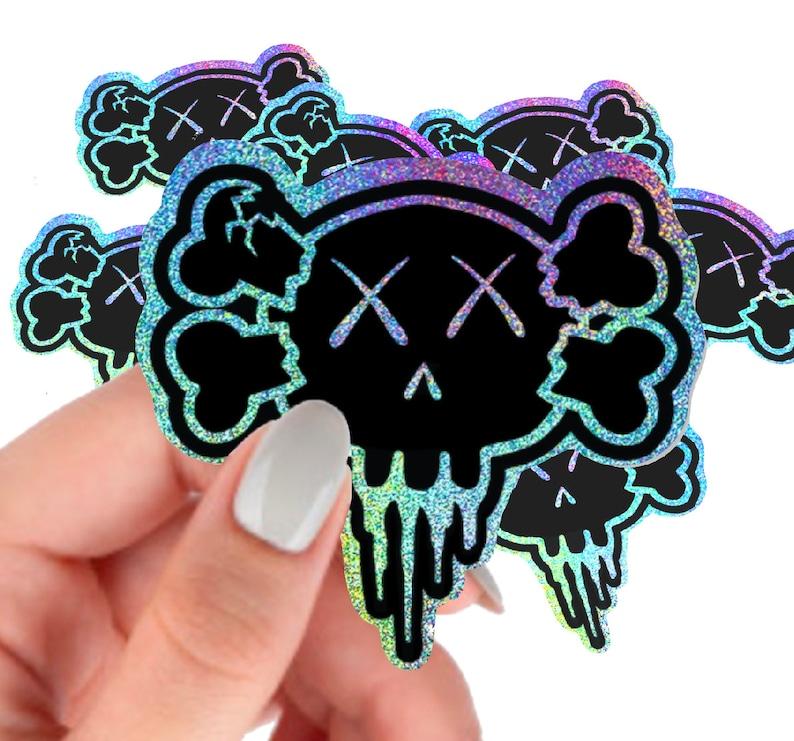 Creeps Holographic Glitter Halloween Skull Stickers  Vinyl image 1
