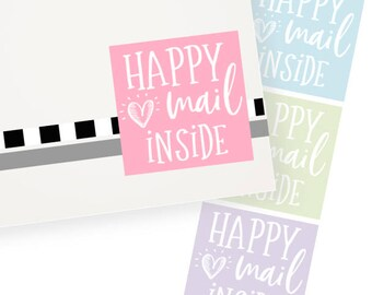 Happy Mail Inside Stickers   24 stickers per sheet   Each Sticker 1.5 inches square   HMI3