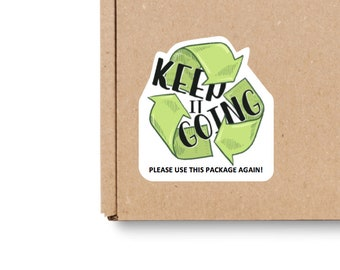 Keep it Going Recycle Sticker | 40 stickers per sheet | Each Sticker 1.5 inches square | KIGR