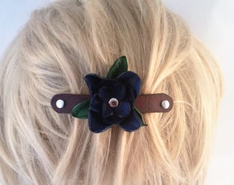 Hand Cut Blue Leather flower - nickel plate french barrette - flower barrette - Valentine gift for her - hair fashion - hair barrette