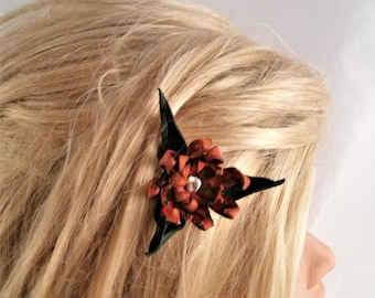 Hand Cut orange Leather flower - nickel plate snap clip - flower barrette - Valentine Gift her - hair fashion - hair barrette