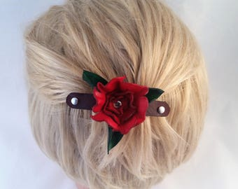Red Leather flower - nickel plated french barrette - flower barrette - Valentines Gift - hair fashion - hair barrette - hair accessory