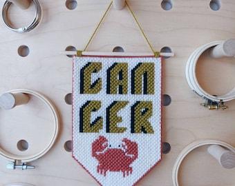 Cancer // Needlepoint Banner // Zodiac