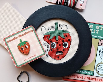 Cross Stitch Kit & Enamel Pin // Sensitive Strawberry // Batwing Designs Collab // 4 Inch // DIY