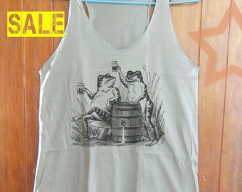 Frogs Toast And Drink Beer shirt funny tank hipster shirts quote top teen shirt women tank top singlet shirt grey tank top size S M L