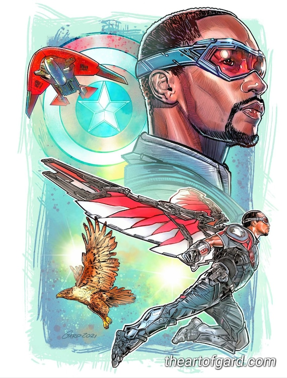 The Falcon Collage 11X14 Art Print