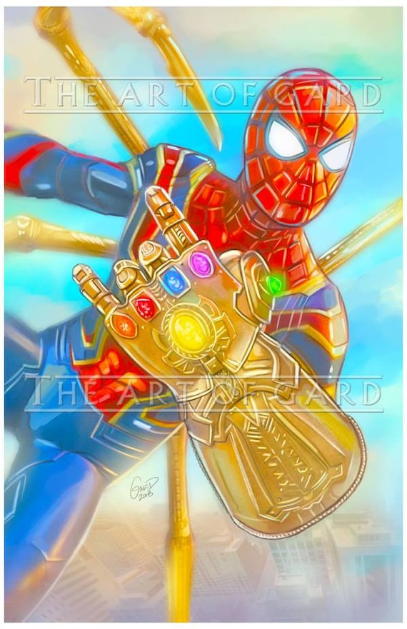 Spiderman and Infinity Gauntlet 11X17 Art Print