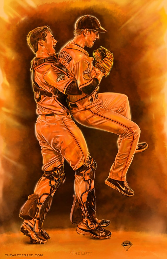 """Buster Posey lifting Tim Lincecum titled """"THE LIFT"""""""