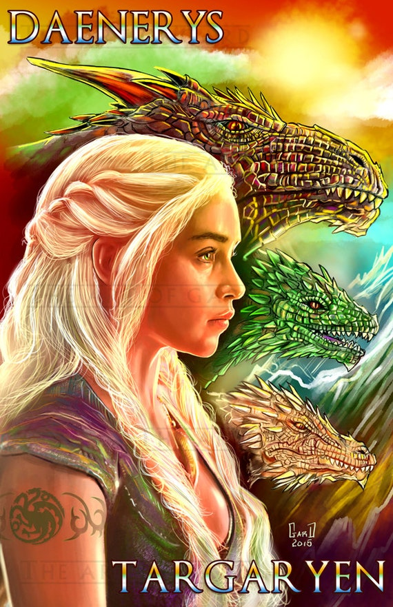 Daenerys Targaryen 11X17 Digital Drawing