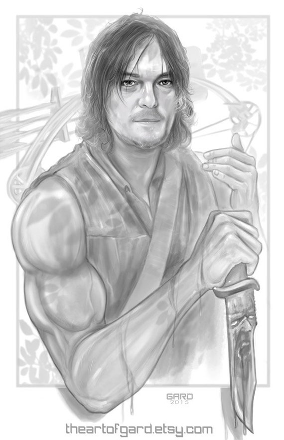 Daryl Dixon (B&W digital drawing)