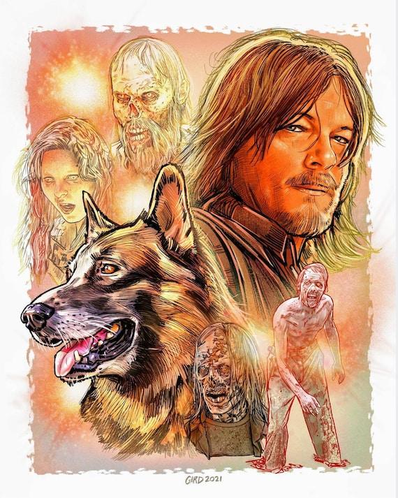 Daryl Dixon and Dog 11X14 Art Print