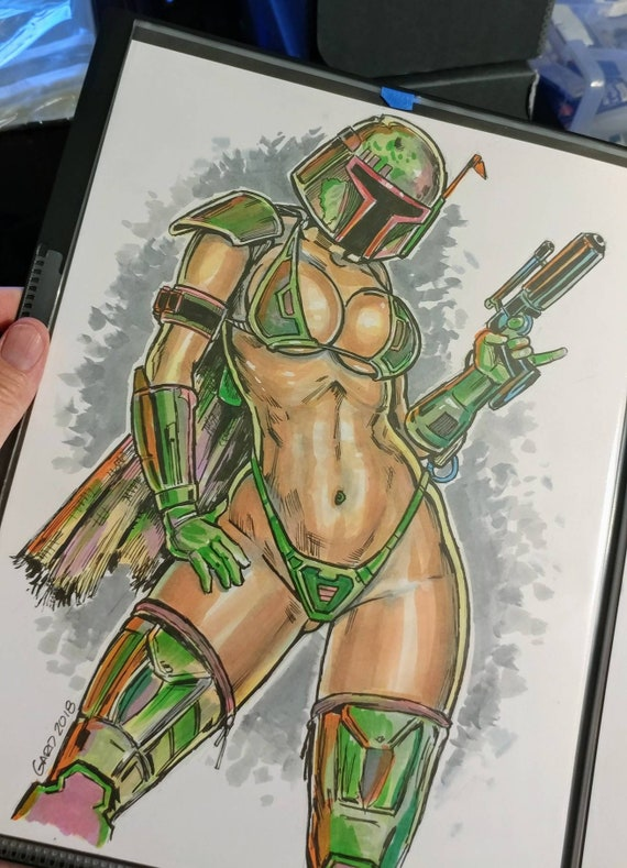 Sexy Fett Sketch on 9X12 Bristol Paper