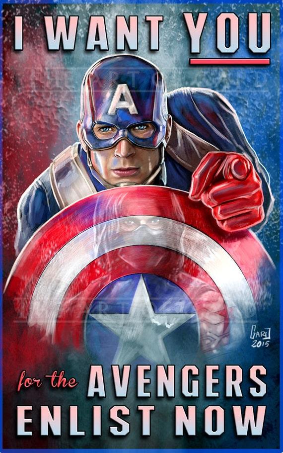 Captain America Avengers Wartime Poster 11X17 Artist's Print