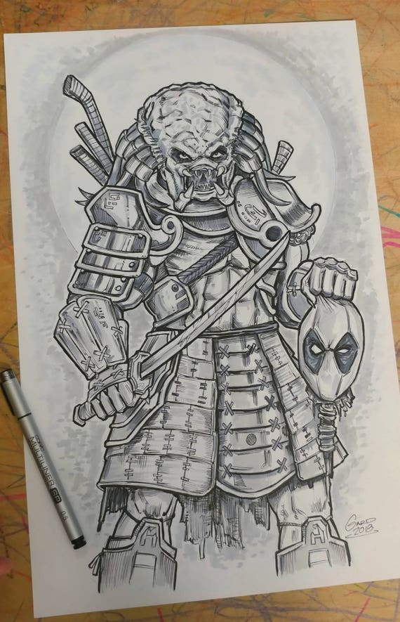 Predator Samurai vs. Deadpool Original Drawing 11X17 Bristol
