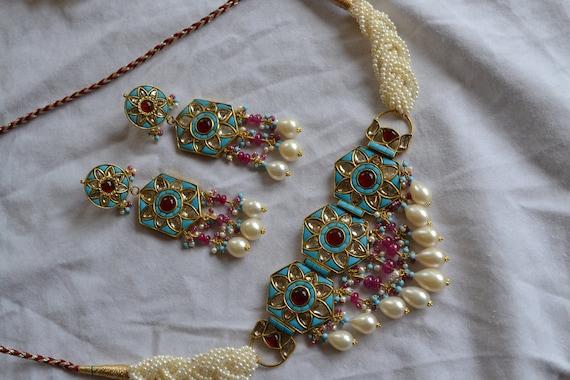 Gold Moughal Polki Diamond Turquoise Ruby Necklace Set Gold Etsy