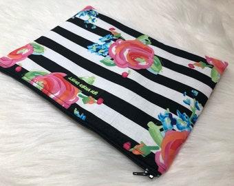 Striped flower clutch/makeup bag -large