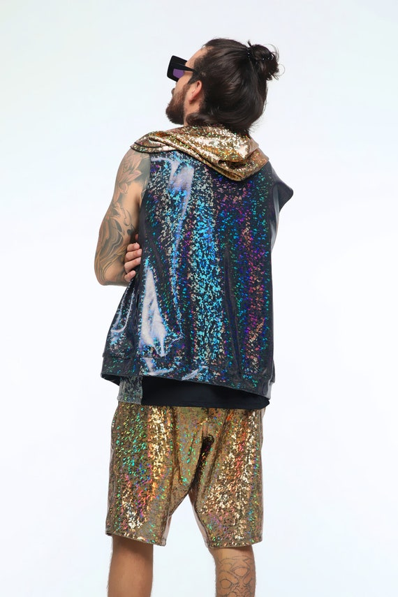Entusiastiche gilet di paillettes   Felpa con cappuccio Festival   Hood olografica   Giacca Festival   Felpa con cappuccio senza maniche   Rave con