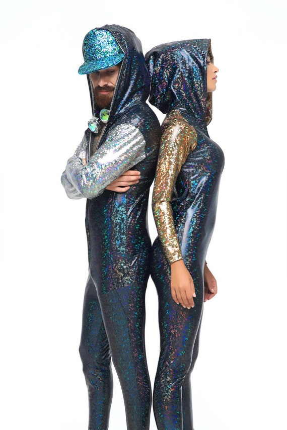 Body Suit, Mens, Jumpsuit, Holographic Clothing, Wrestling Suit, Festival Clothing, Burning Man Costumes, Rave Bodysuit, EDC Outfit, EDM