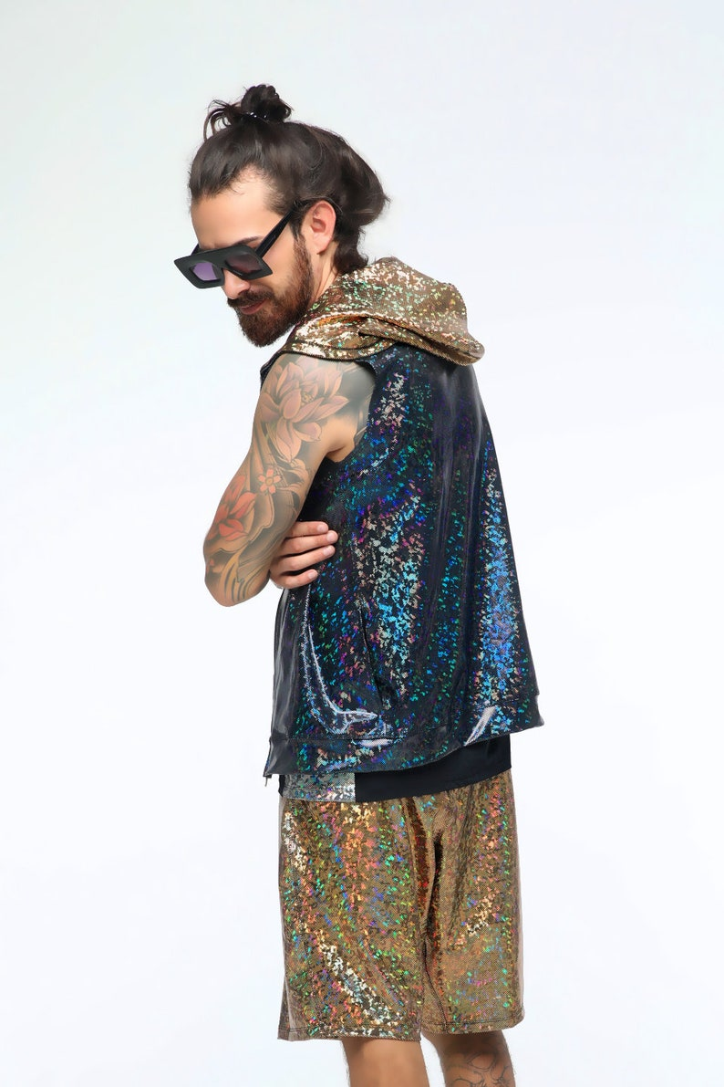 b38c39d573a Mens Hoodie Vest Rave Wear Hooded Jacket Holographic