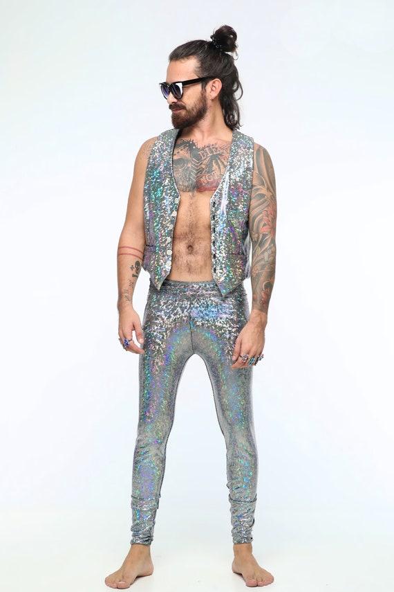 Silver Holographic Mens Leggings Burning Man Clothing Men  2cf85c542