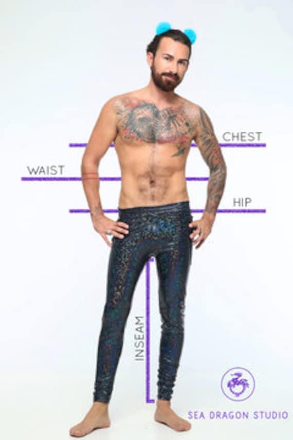Mens Festival Shorts, Rave Outfit voor mannen, Burning Man, Mens Booty Shorts, holografische Festival kleding