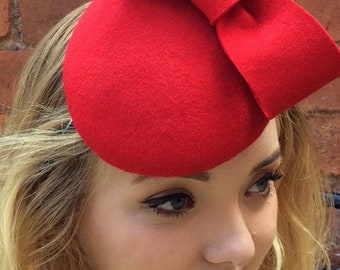 Violet Headpiece - Handmade red velour headpiece, trimmed with handmade red velour bow