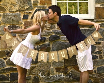 LAST NAME Burlap Banner, Bunting, Garland, Pennant, Photo Prop, Wedding Decor, Home Decor