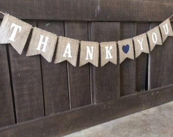 THANK YOU Square Flag Burlap Banner, Bunting, Garland, Pennant,Photo Prop, Wedding Decor