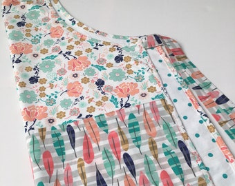 "Apron, Full Length, flowers and leaves, ""Peach and Teal""!"