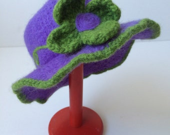 Hand-Knitted and Felted 100% Wool Hat in Purple with Green Trim