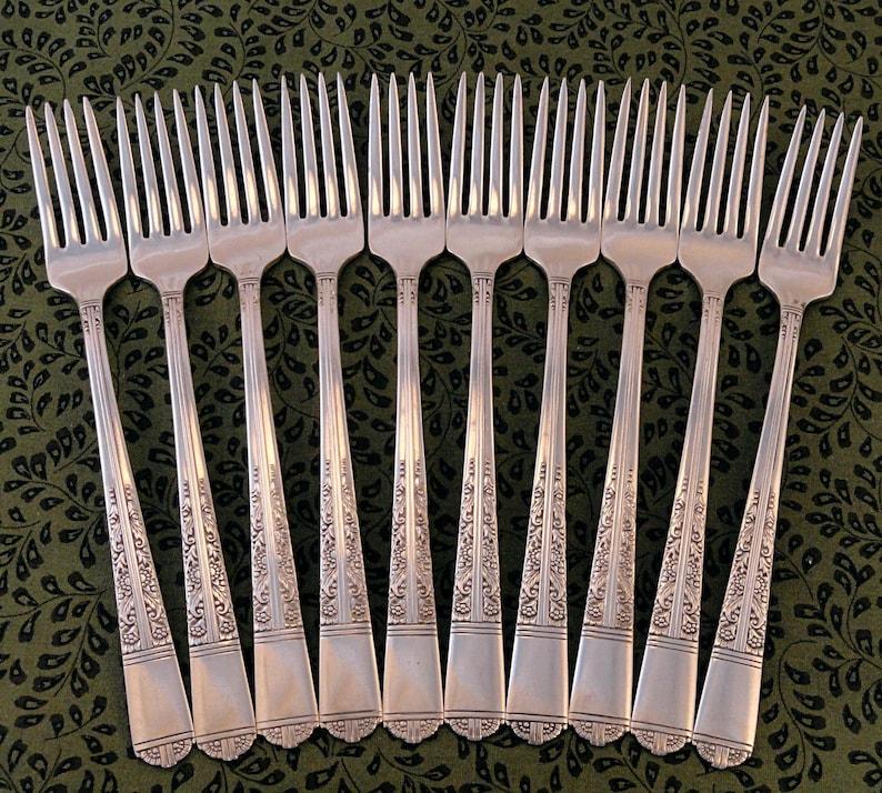 10 fourchettes à dîner long manche Grille Viande Style Tudor communauté Oneida assiette ROYAL YORK Vintage 1937 Silverplate plaque d'argent couverts Fair