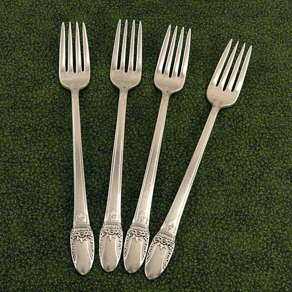 6 Art Deco Dinner Forks Oneida Community NOBLESSE 1930 Vintage Silver Plate Silverplate Flatware Silverware