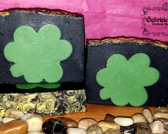 Black & White Shamrock Cold Process Soap | shamrock soap | handmade soap | artisan soap | activated charcoal soap