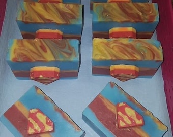 Superman Inspired Cold Process Soap | Kids Soap | Collection Soap | Marvel Soap | Men Soap | Artisan Soap | Handmade Soap