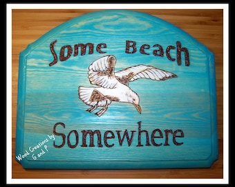 SOME BEACH, SOMEWHERE Wood Sign with Sea Gull