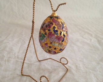 Vintage Ornate Hand Painted Gilded Ceramic Egg on Gilded wire stand