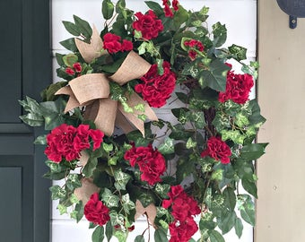 Summer Wreaths. Geranium Wreath. Spring Wreaths. Front Door Wreath. Porch Decor.  Indoor Wreath.