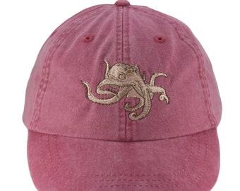 bd1980b8 Octopus embroidered hat, baseball cap, cap, dad hat, mom cap, wildlife cap,  Squid cap, octopus gift, fishing, ocean animal
