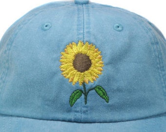 Sunflower hat, baseball cap, yellow flower, gardening hat, sun cap, fall hat, floral hat, garden cap, autumn hat, embroidered