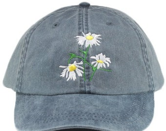 b7c49ba9 Daisy embroidered hat, baseball cap, flowers, gardening hat, sun cap, mom  hat, floral hat, garden cap, spring hat, garden cap. gift