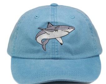 Shark embroidered hat, baseball cap, cap, dad hat, mom cap, wildlife cap, great white shark cap, shark lover gift, fishing
