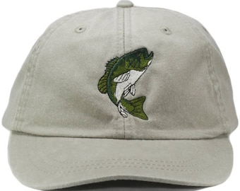 ef6f3c3fa1c74f Bass embroidered hat, baseball cap, dad hat, mom cap, wildlife cap, animal,  fish, large mouth bass, fishing, fisherman hat, father's day