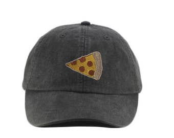 Pizza embroidered hat, baseball cap, dad hat, mom cap, pizza lover, pepperoni pizza, slice, gift