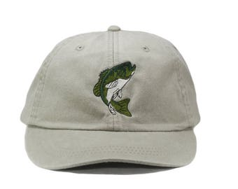 Bass embroidered hat, baseball cap, dad hat, mom cap, wildlife cap, animal, fish,  large mouth bass, fishing, fisherman hat, father's day