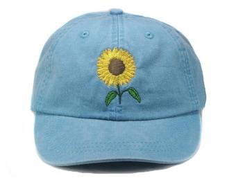 Sunflower embroidered hat, baseball cap, flower, gardening hat, sun cap, fall hat, floral hat, garden cap, autumn hat, garden cap