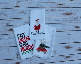 Christmas Kitchen Towel; Eat Drink and Be Merry Towel, Red Car with Tree Towel, Microfiber Towel; Waffle Weave Christmas Towel
